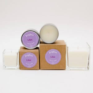 Lilac scented soy wax candle in three different sizes