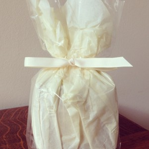 Gift wrapped Rosy Rosie Candle all ready to be packed and sent