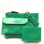 Full range of emerald leather accessories